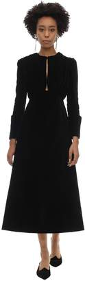 Emilia Wickstead DRAPED VELVET DRESS W/CUT OUTS