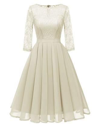 YL&Sports Women's Illusion Bridesmaid Elegant Floral Lace Dress 3/4 Sleeves Midi Dresses ...