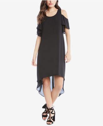 Karen Kane Ruffle Cold-Shoulder High-Low Dress