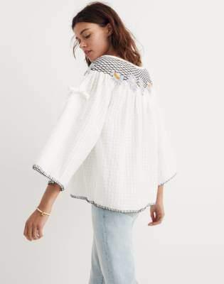 Madewell Innika Choo Daisy Embroidered Smocked Top