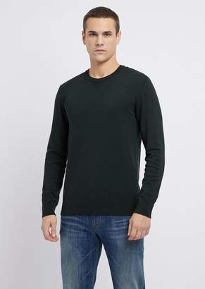 Emporio Armani Crew-Neck Sweater With Maxi-Eagle Embroidered On The Back