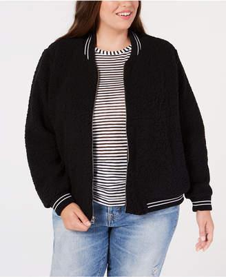 Lucky Brand Trendy Plus Size Fleece Bomber Jacket