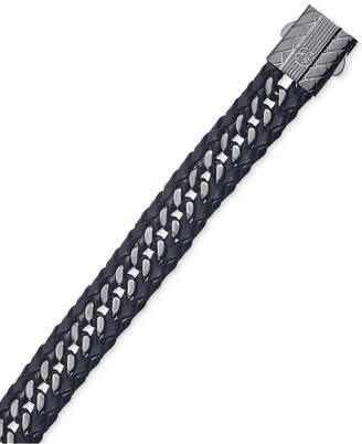 Macy's Esquire Men's Jewelry Black Leather Curb-Style Bracelet in Gunmetal IP over Stainless Steel, Created for