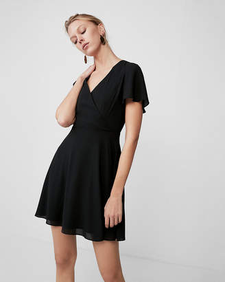Express Surplice Flutter Sleeve Fit And Flare Dress