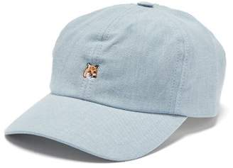 MAISON KITSUNÉ Fox Embroidered Cotton Chambray Cap - Mens - Light Blue