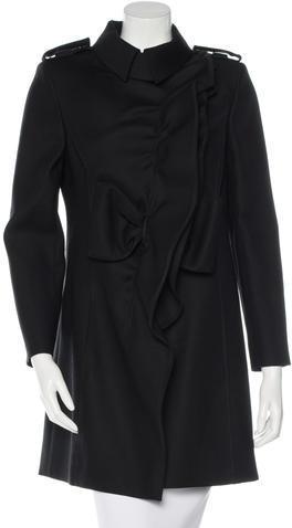 ValentinoValentino Virgin Wool-Blend Ruffled Coat