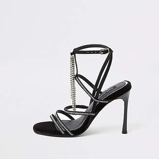 River Island Black diamante strappy heeled sandal