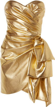 Dundas Draped Gold Leather Dress