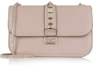 Valentino Garavani Lock Medium Leather Shoulder Bag - Blush