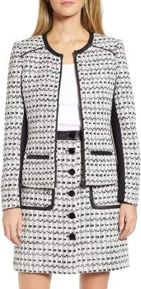 Karl Lagerfeld Paris Contrast Panel Tweed Jacket