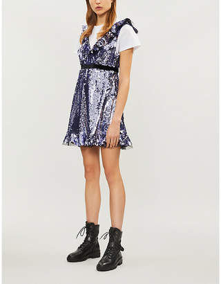 Free People Siren velvet-trimmed sequinned mini dress