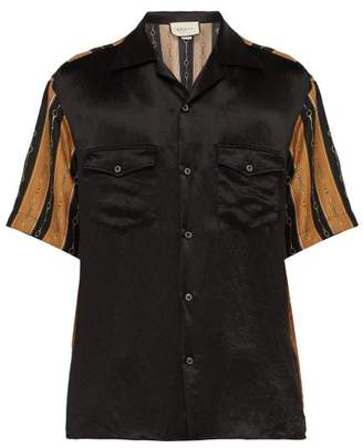 a6daee21 Gucci Horsebit Print Short Sleeved Silk Blend Shirt - Mens - Black Multi