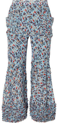 Chloé Ruffle-trimmed Pleated Floral-print Crepe Flared Pants - Blue