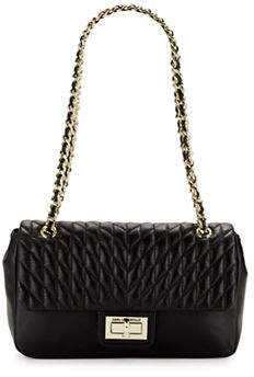 Karl Lagerfeld PARIS Quilted Convertible Leather Shoulder Bag