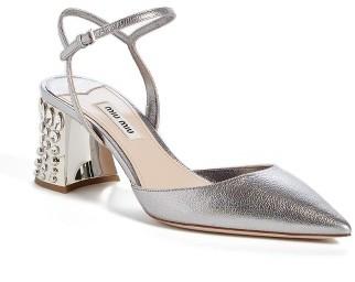 Women's Miu Miu Jeweled Heel Ankle Strap Pump