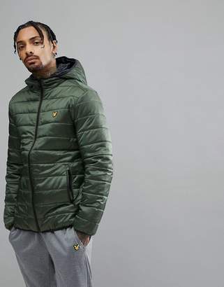 Lyle & Scott Fitness Cooke Foil Puffer Jacket In Green