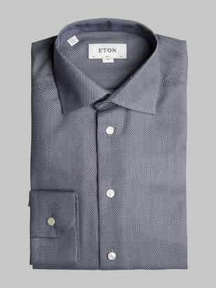 Eton Grey Slim Fit Micro Detail Polo - 16 - Grey