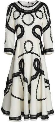 Dolce & Gabbana Frayed Braid-Detailed Silk-Blend Organza Midi Dress