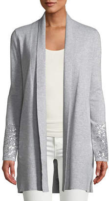 Neiman Marcus Sequin Cuff Open-Front Cashmere Cardigan
