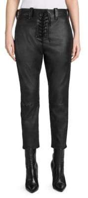 Taverniti So Ben Unravel Project Leather Lace-Up Cropped Chinos