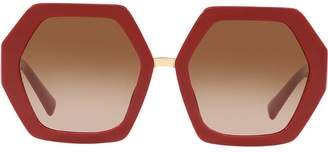 Valentino Eyewear red hexagonal oversized V logo sunglasses