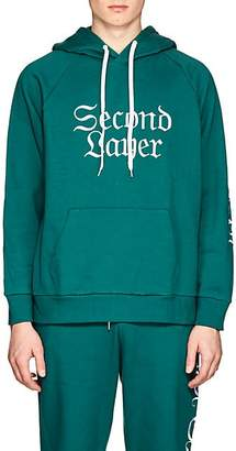 Second / Layer Men's Logo-Embroidered Cotton Terry Hoodie - Green Size S