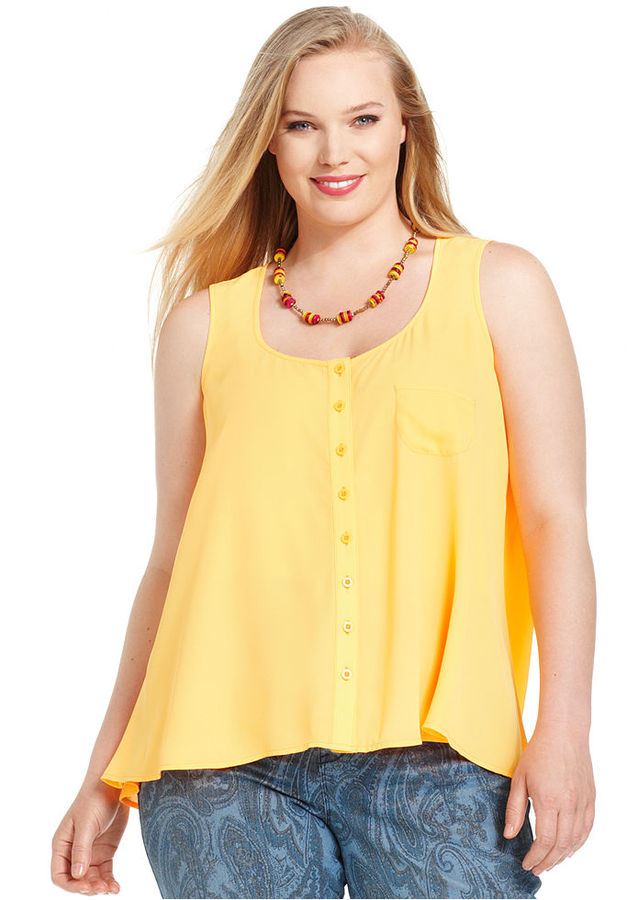 Style&Co. Plus Size Top, Sleeveless Button-Down