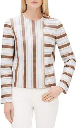 Lafayette 148 New York Kaydon Striped Lambskin Leather Zip-Front Jacket