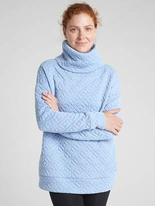 Gap GapFit Jacquard Knit Funnel-Neck Pullover Sweatshirt