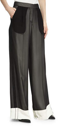 Derek Lam Double-Layer Chiffon Wide-Leg Tuxedo Pants
