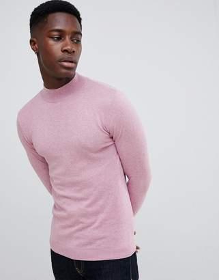Asos Design DESIGN muscle fit turtleneck sweater in pink