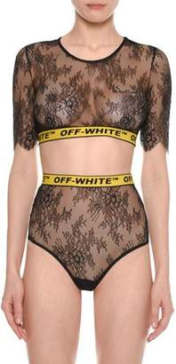 Off-White Crewneck Short-Sleeve Lace Bra-Top with Logo Band, Black