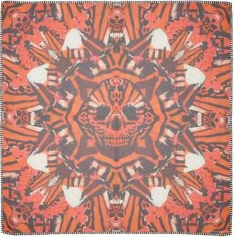 Alexander McQueen Skull & Tiger Moth Print Silk Chiffon Scarf