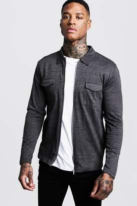 boohoo Jersey Utility Zip Overshirt