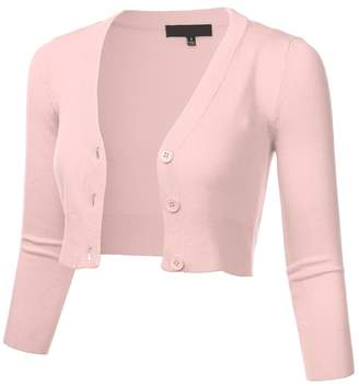 FLORIA Women Solid Button Down 3/4 Sleeve Cropped Bolero Cardigan Sweater Blush 1XL