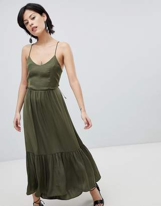 Vero Moda Tiered Satin Maxi Dress