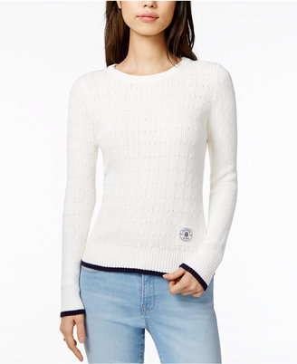 Tommy Hilfiger Cotton Cable-Knit Sweater, Only at Macy's $59.50 thestylecure.com