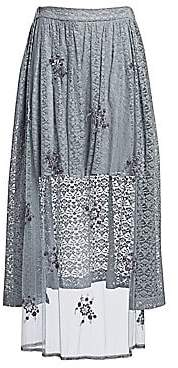 Stella McCartney Women's Isabella Tulle& Lace Combination High-Low Skirt