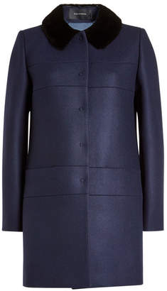 Tara Jarmon Coat with Wool, Cashmere and Faux Fur Collar