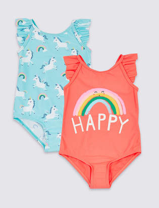 8ff542524c90b Marks and Spencer 2 Pack Swimsuit with Sun Smart UPF50+ (3 Months - 7 Years