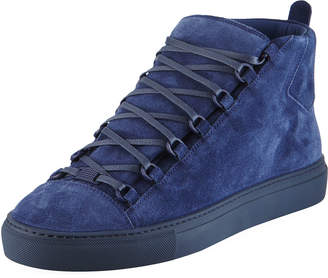 Balenciaga Men's Arena Suede Mid-Top Sneakers