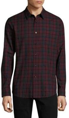 Theory Flair Check Cotton Casual Button-Down Shirt