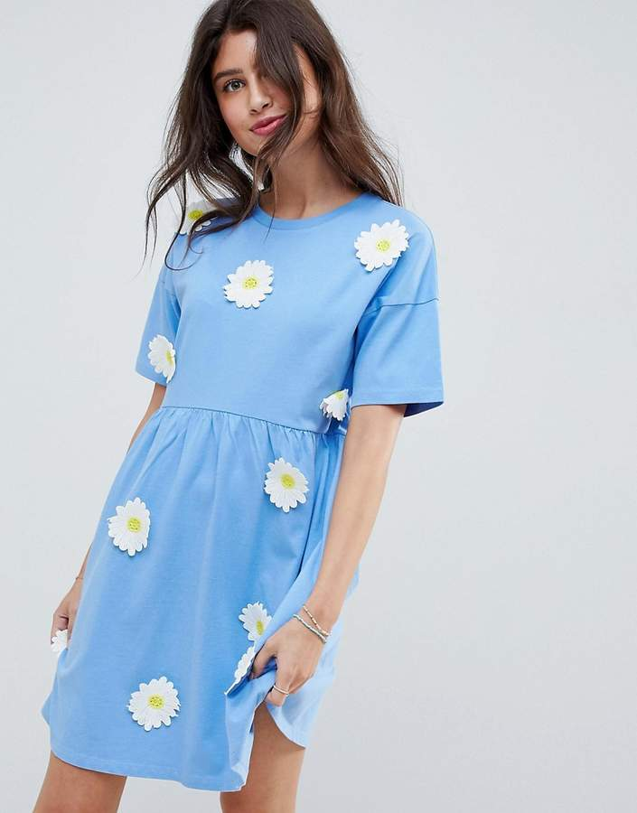 DESIGN smock dress with daisy appliques