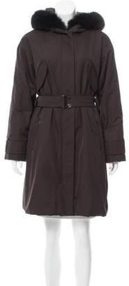 Max Mara 'S Fur-Trimmed Belted Coat