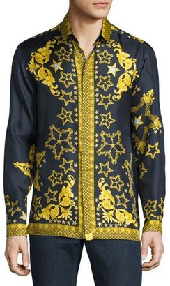 Versace Collection Baroque & Star Printed Long-Sleeve Silk Shirt, Navy $550 thestylecure.com