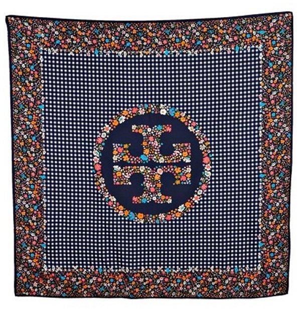 Tory Burch navy gingham floral print silk scarf