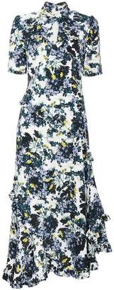 Erdem Silk floral dress with twist detail