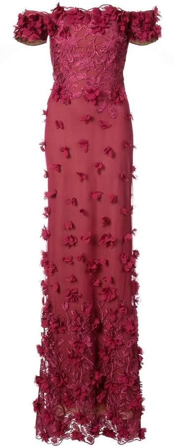 off-shoulder floral appliqué gown