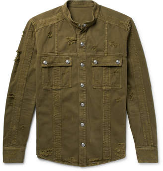 Balmain Slim-Fit Grandad-Collar Distressed Denim Shirt Jacket