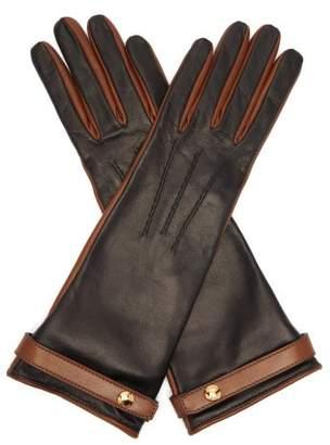 Burberry Bi Colour Leather Gloves - Womens - Black
